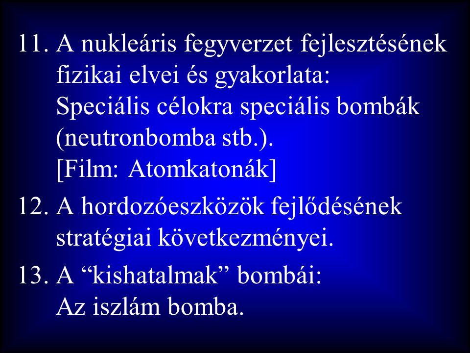 A nukleáris fegyverzet fejlesztésének fizikai elvei és gyakorlata: Speciális célokra speciális bombák (neutronbomba stb.). [Film: Atomkatonák]